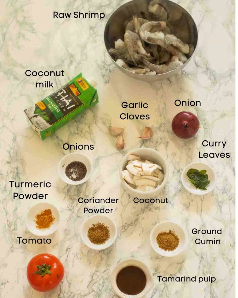 Ingredients for shrimp curry