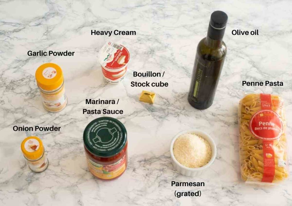Ingredients used to make creamy Instant Pot pasta