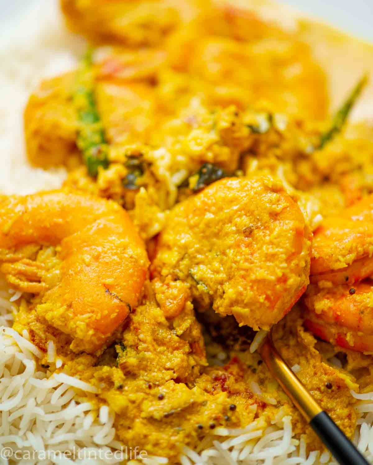 Close up of shrimps with curry served over rice