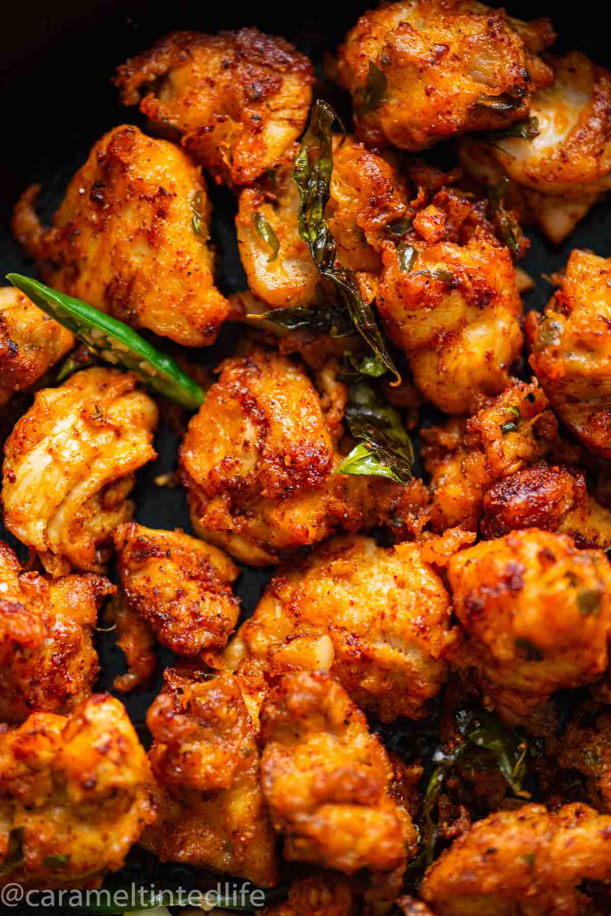 Close-up of chicken coated in spices