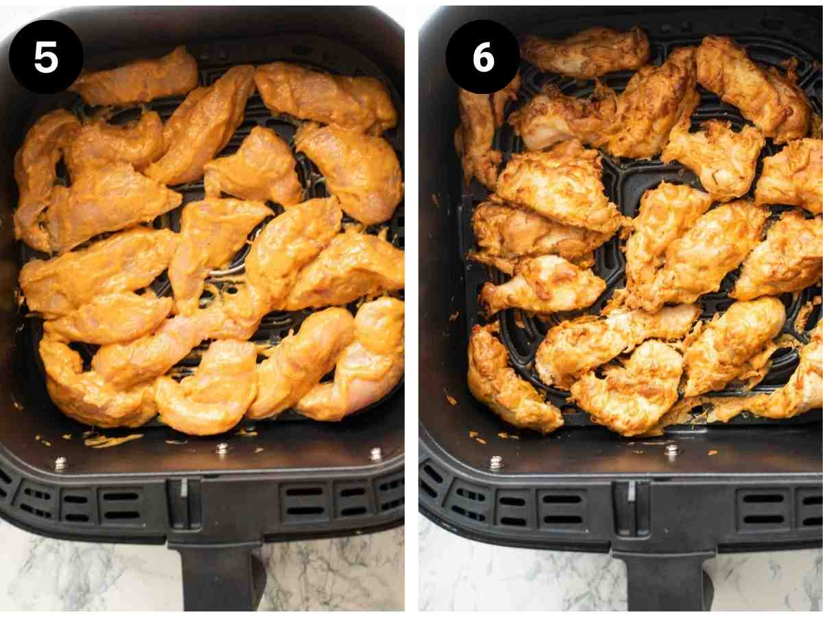 Chicken strips crisped in a air fryer