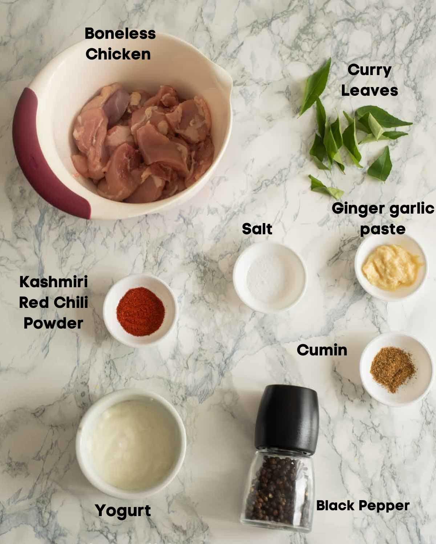 Ingredients for Chicken 65