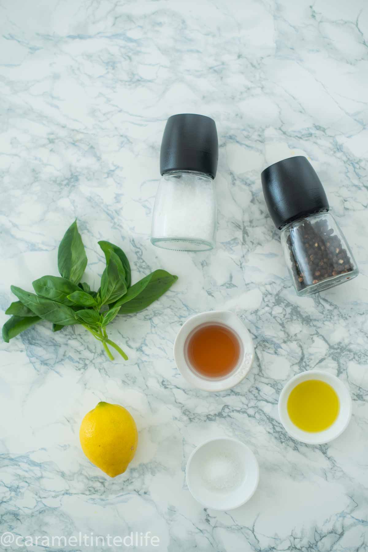 Ingredients used to make basil vinaigrette