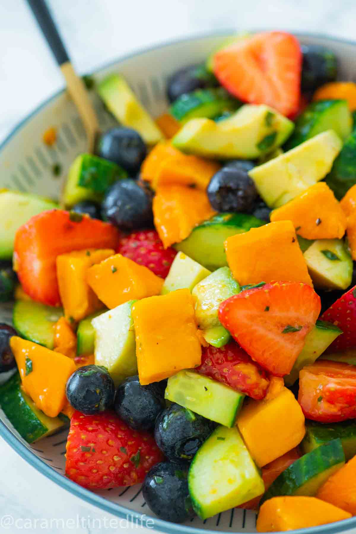 close up of fruit salad in a bowl