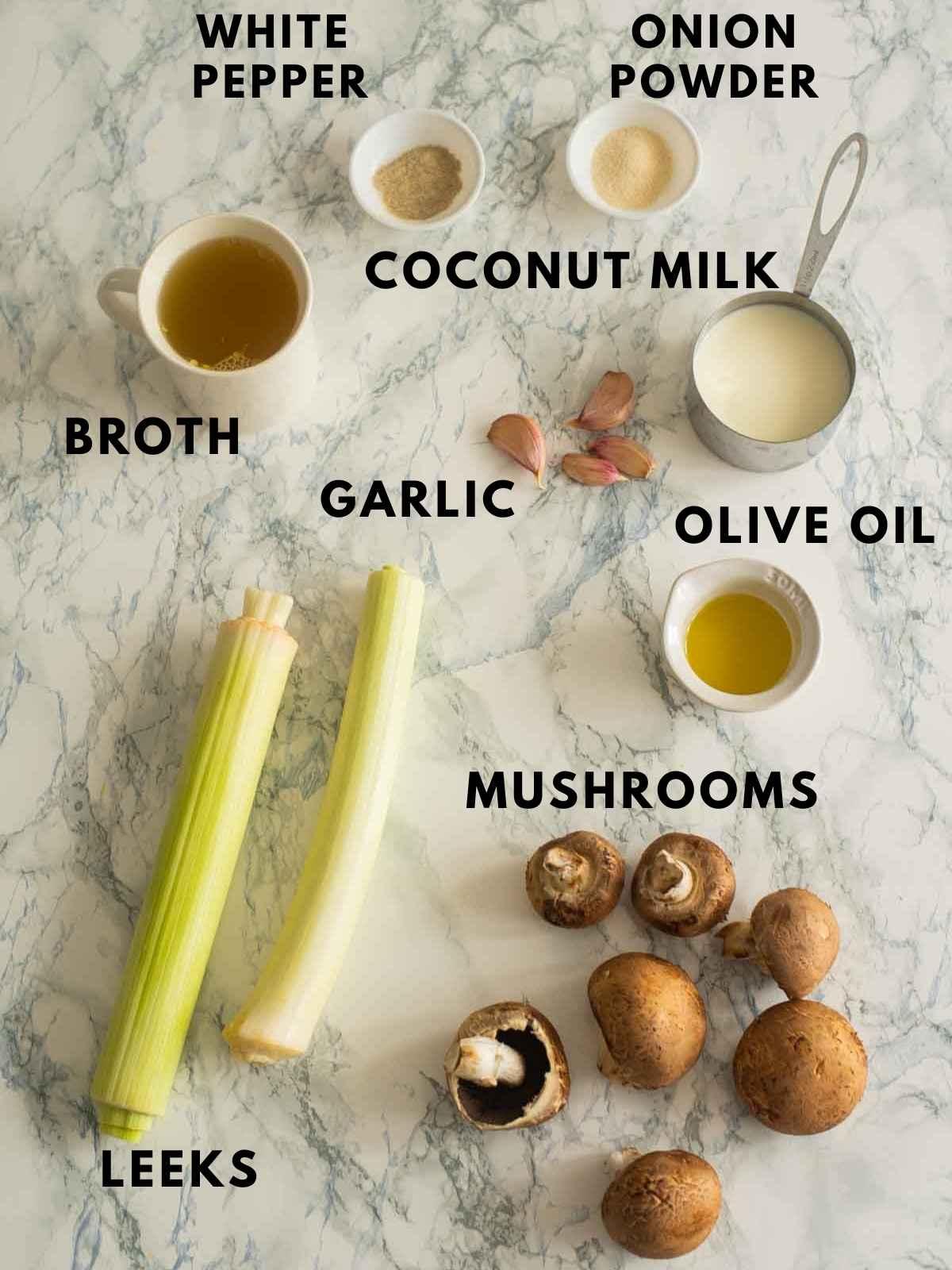 Ingredients used to make vegan cream of mushroom soup