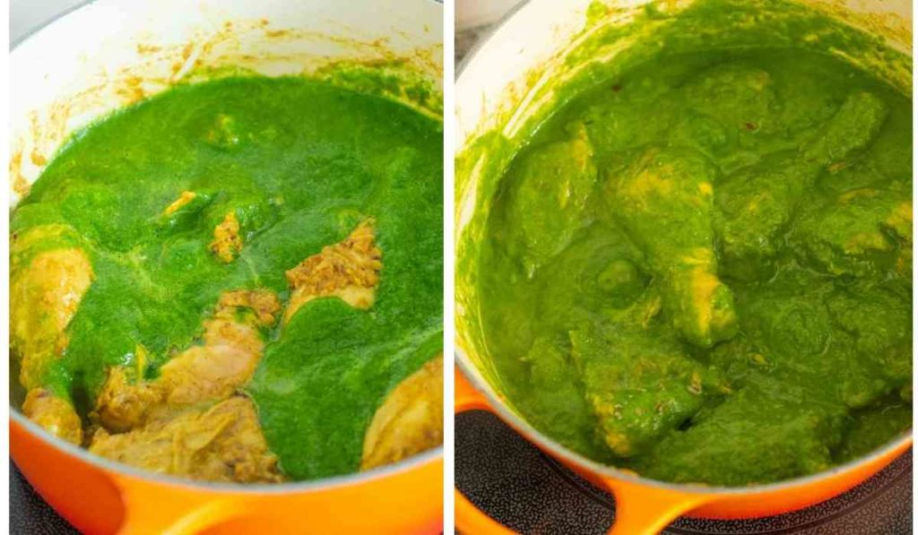 collage of images showing chicken cooking in green curry
