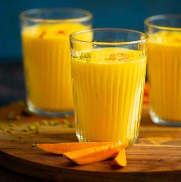 mango lassi in a glass
