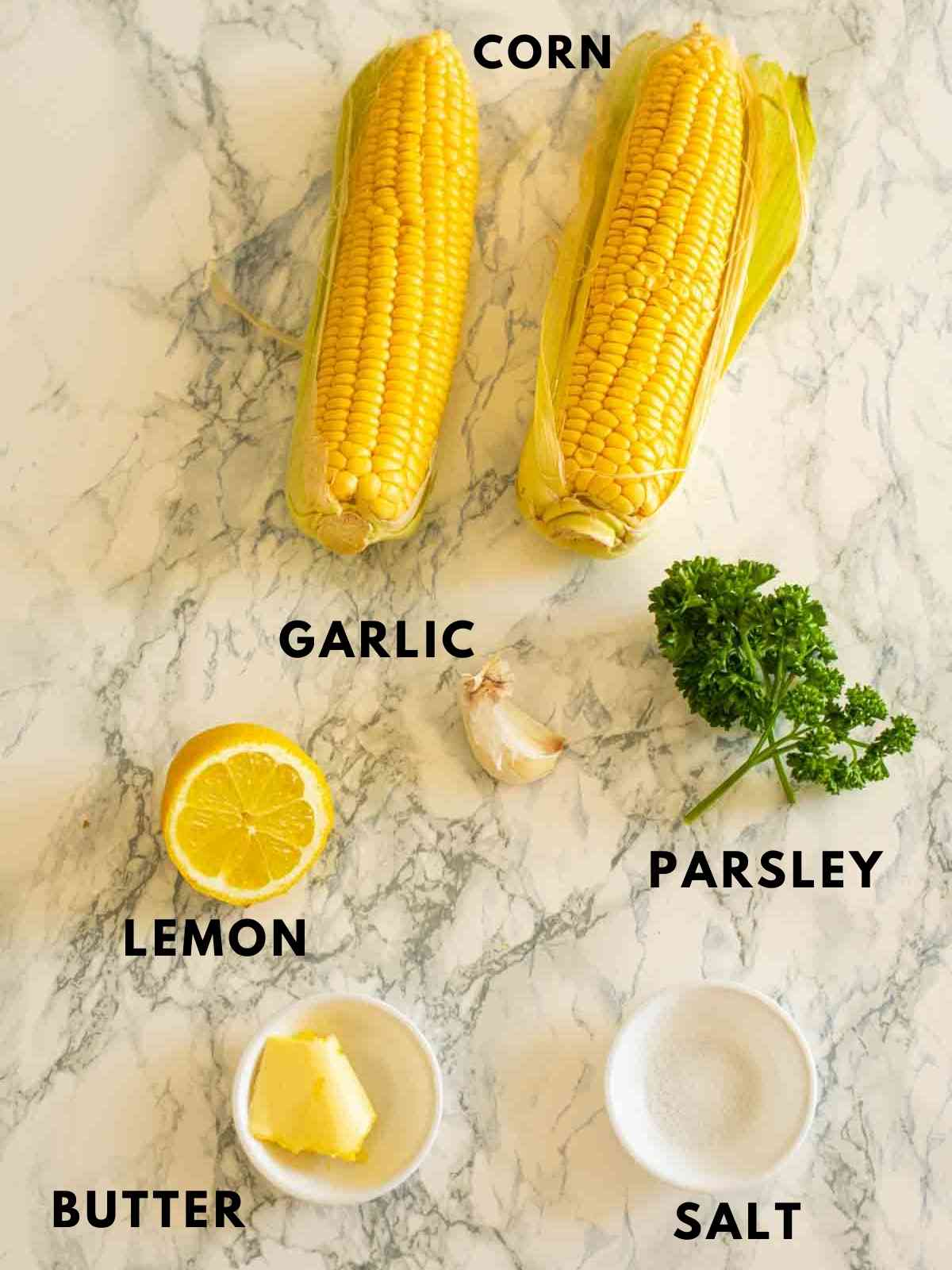 all ingredients for making corn on the cob