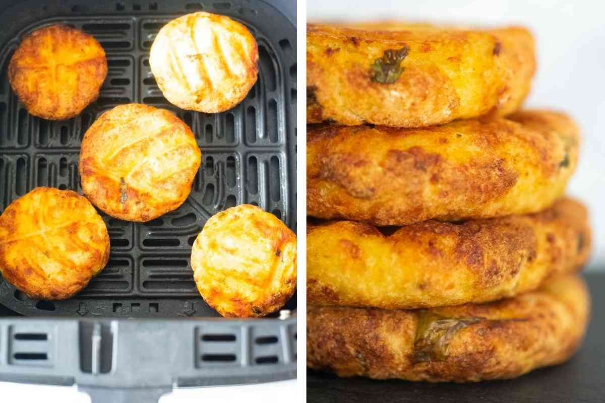 potato patties fried in an air fryer, then stacked