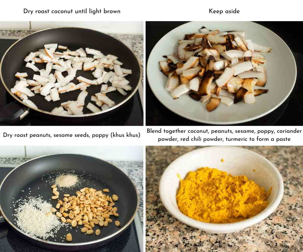 steps for making masala paste for eggplant curry