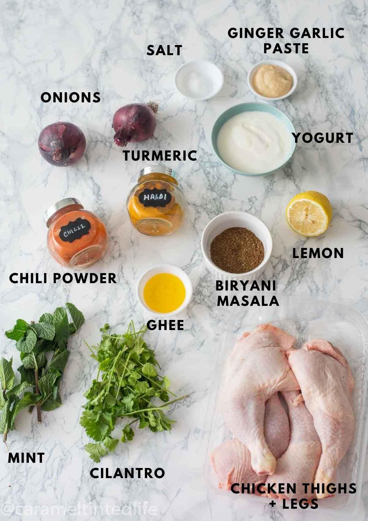 key ingredients used for making chicken biryani