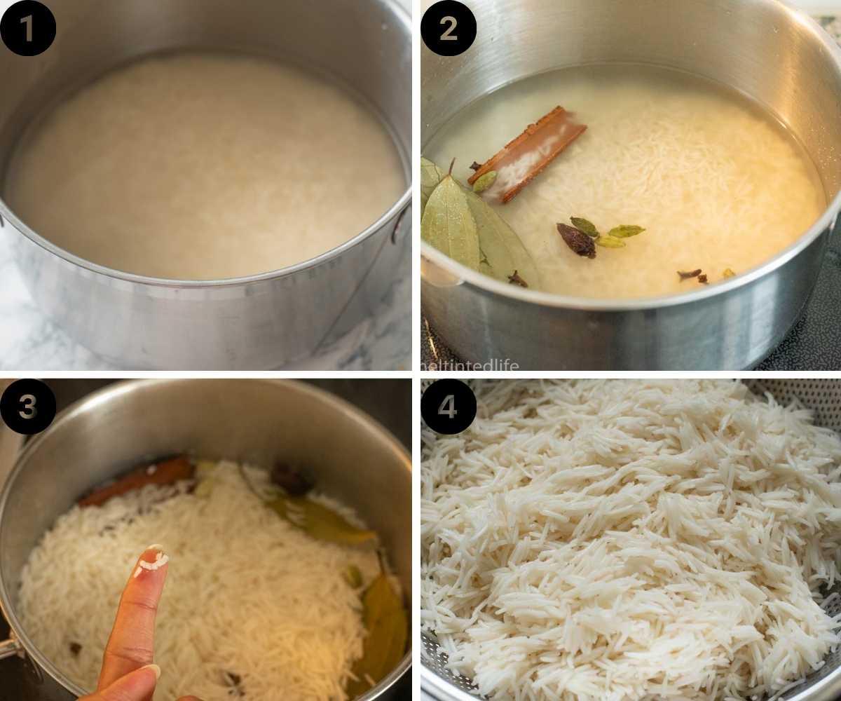 collage of cooking rice for chicken dum biryani