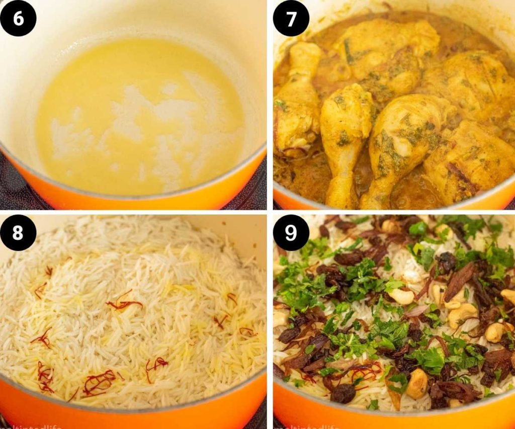 collage of images showing chicken cooking for dum biryani