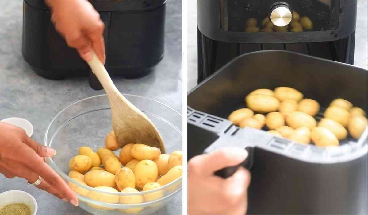 image collage showing baby potatoes in a bowl and in an air fryer basket