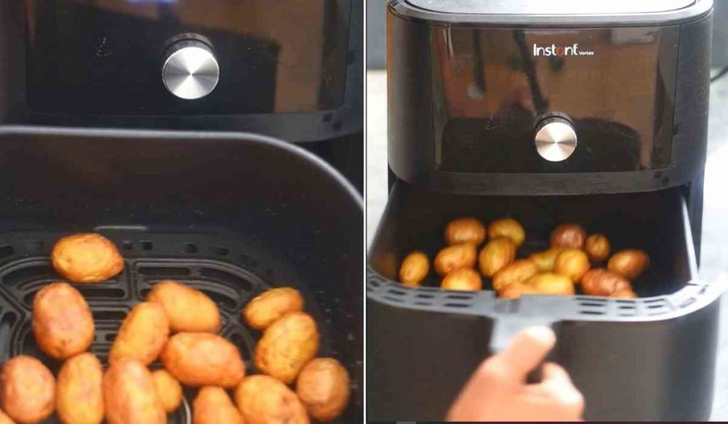 image collage showing roasted potatoes in air fryer