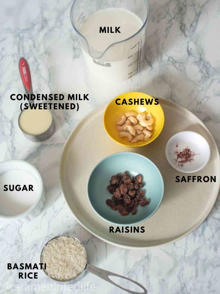 all ingredients to make kheer