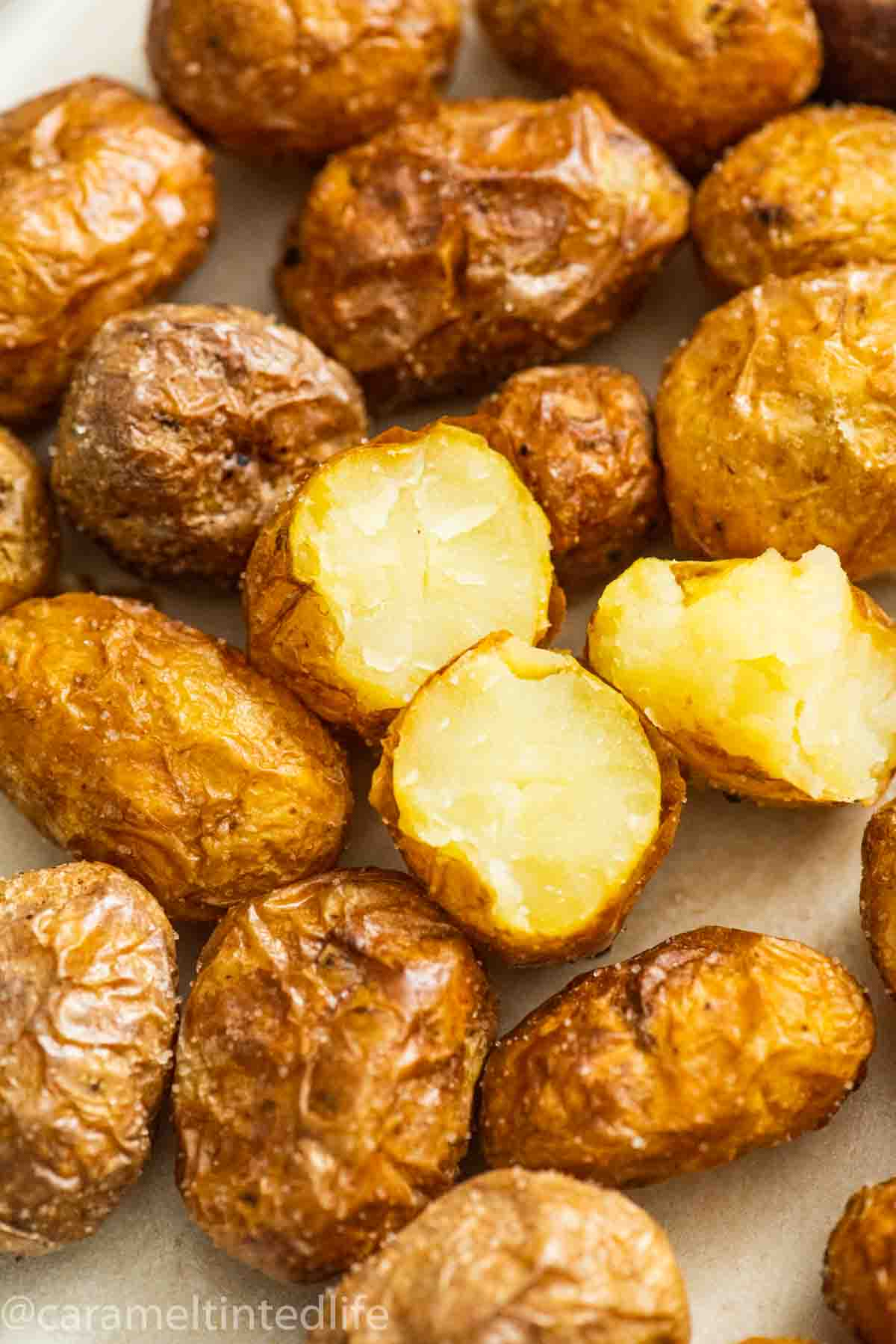 roasted baby potatoes on a plate