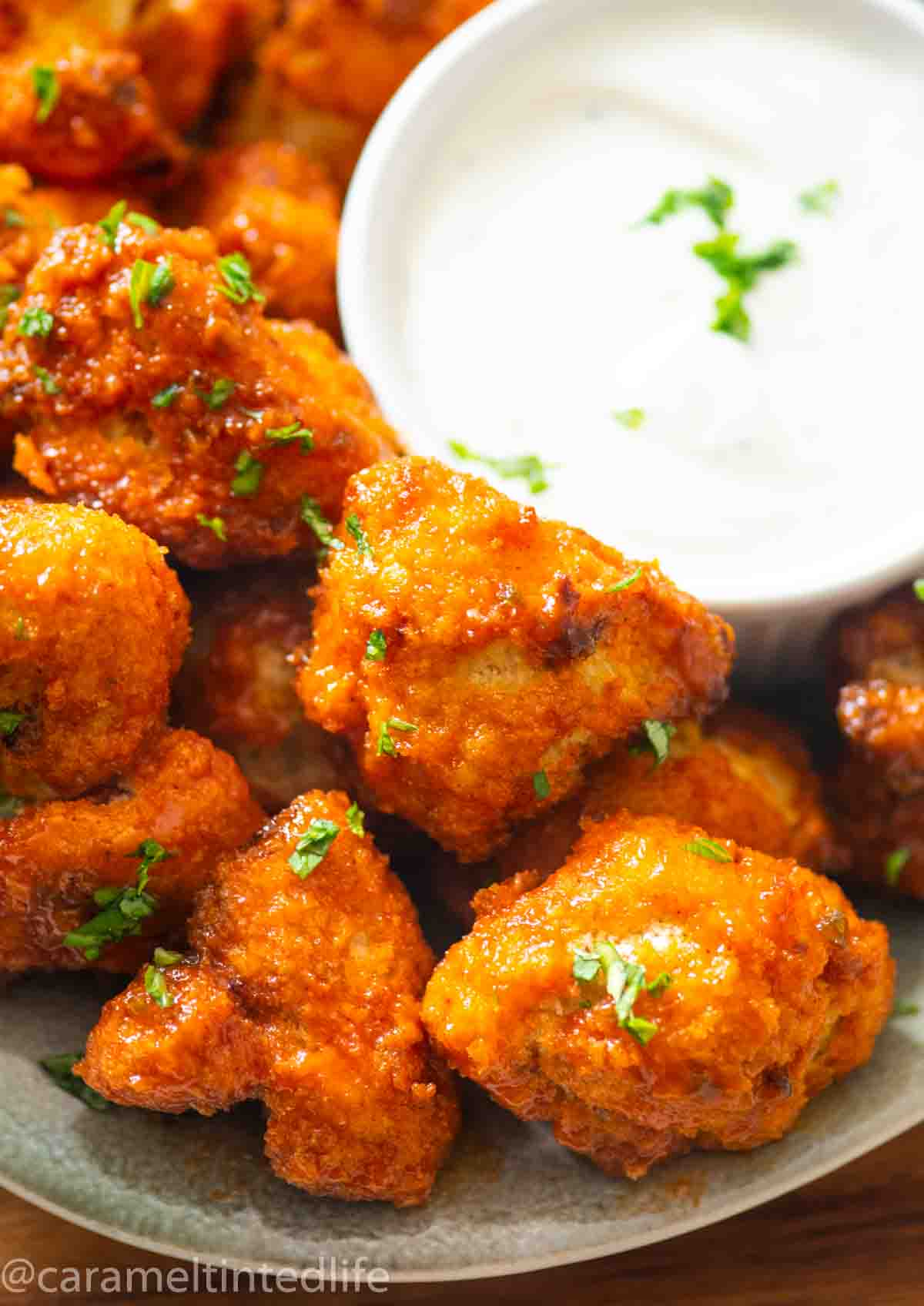 plate with cauliflower wings and ranch dip