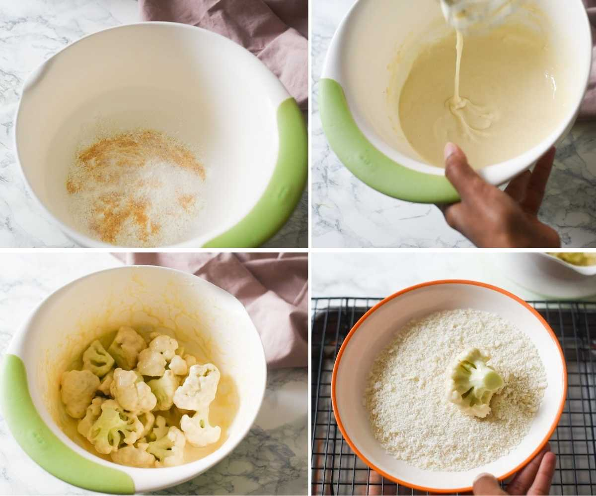 collage of images showing cauliflower being dredged in batter and bread crumbs