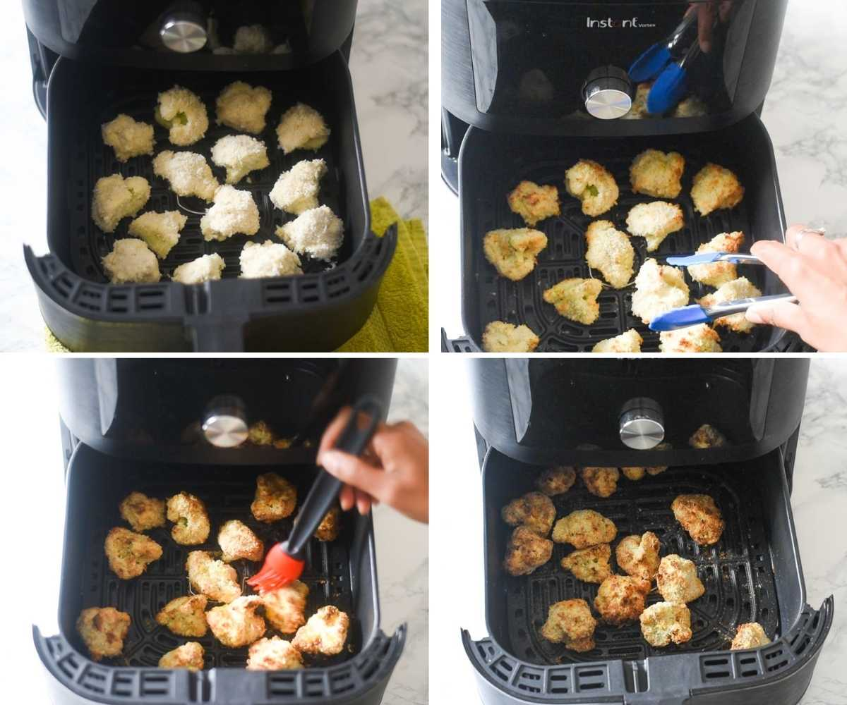 collage of images showing cauliflower in the air fryer basket