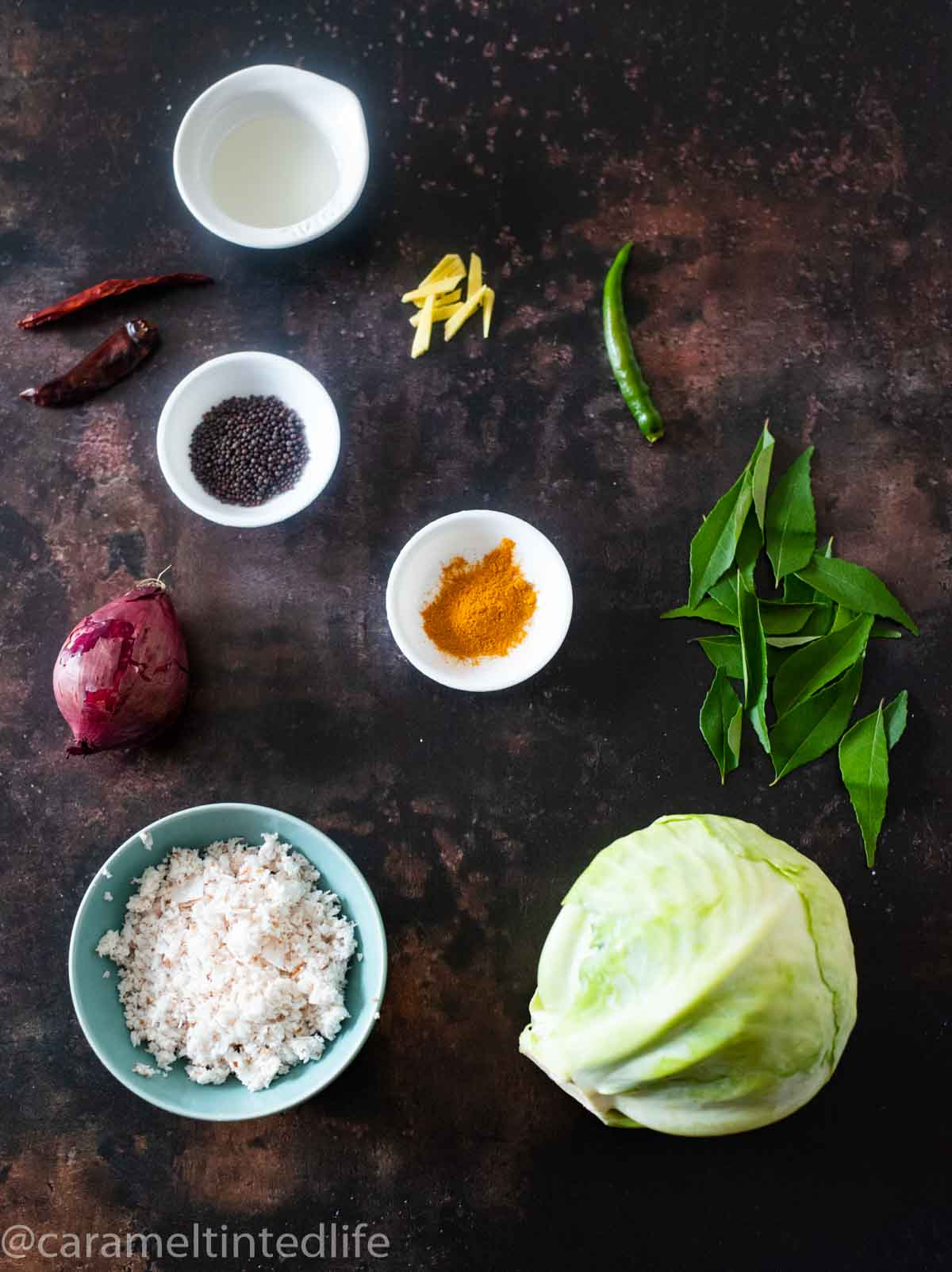 all ingredients for making cabbage thoran