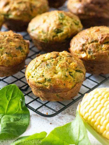 a tra cooling rack with savory muffins
