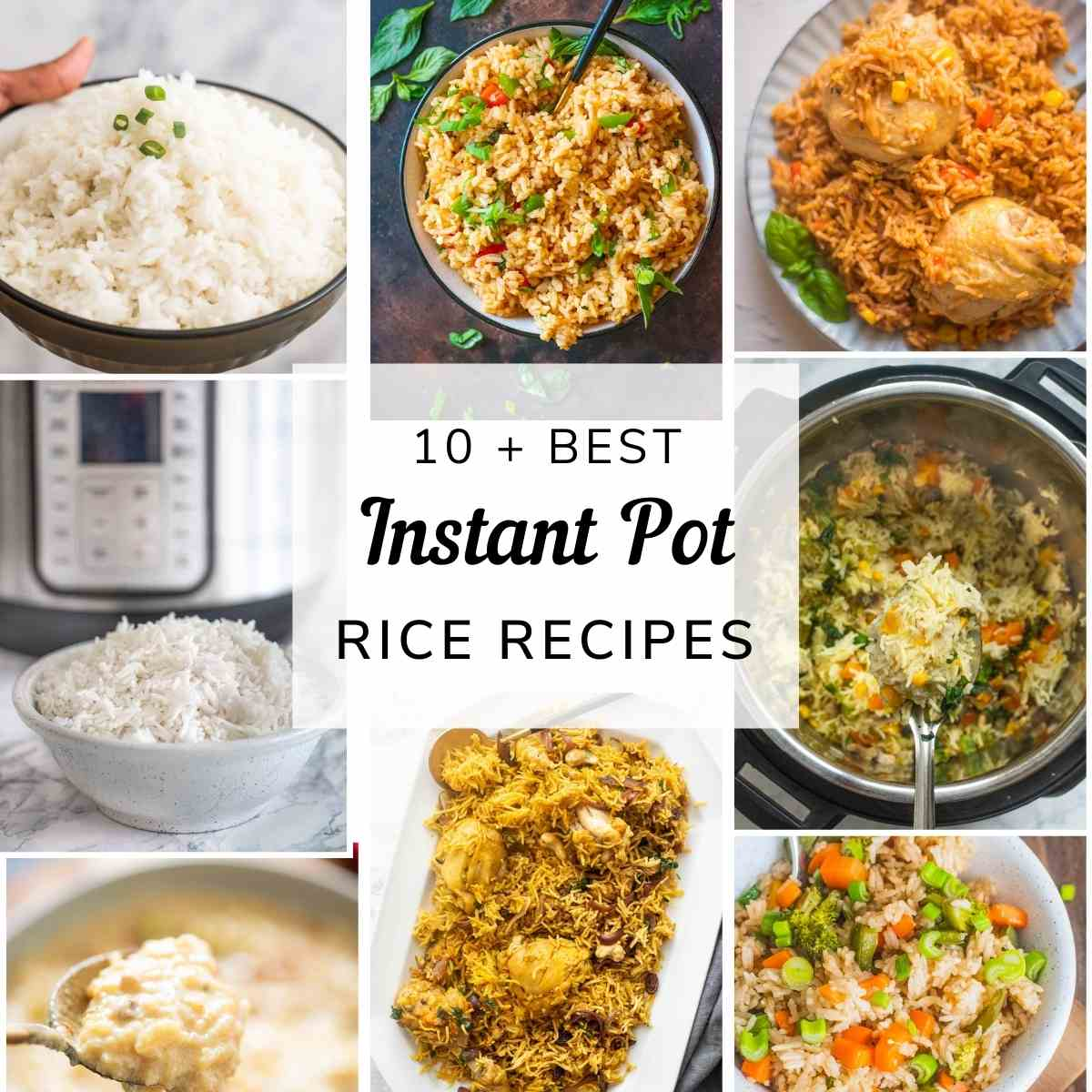 A collage of reice based Instant Pot recipes