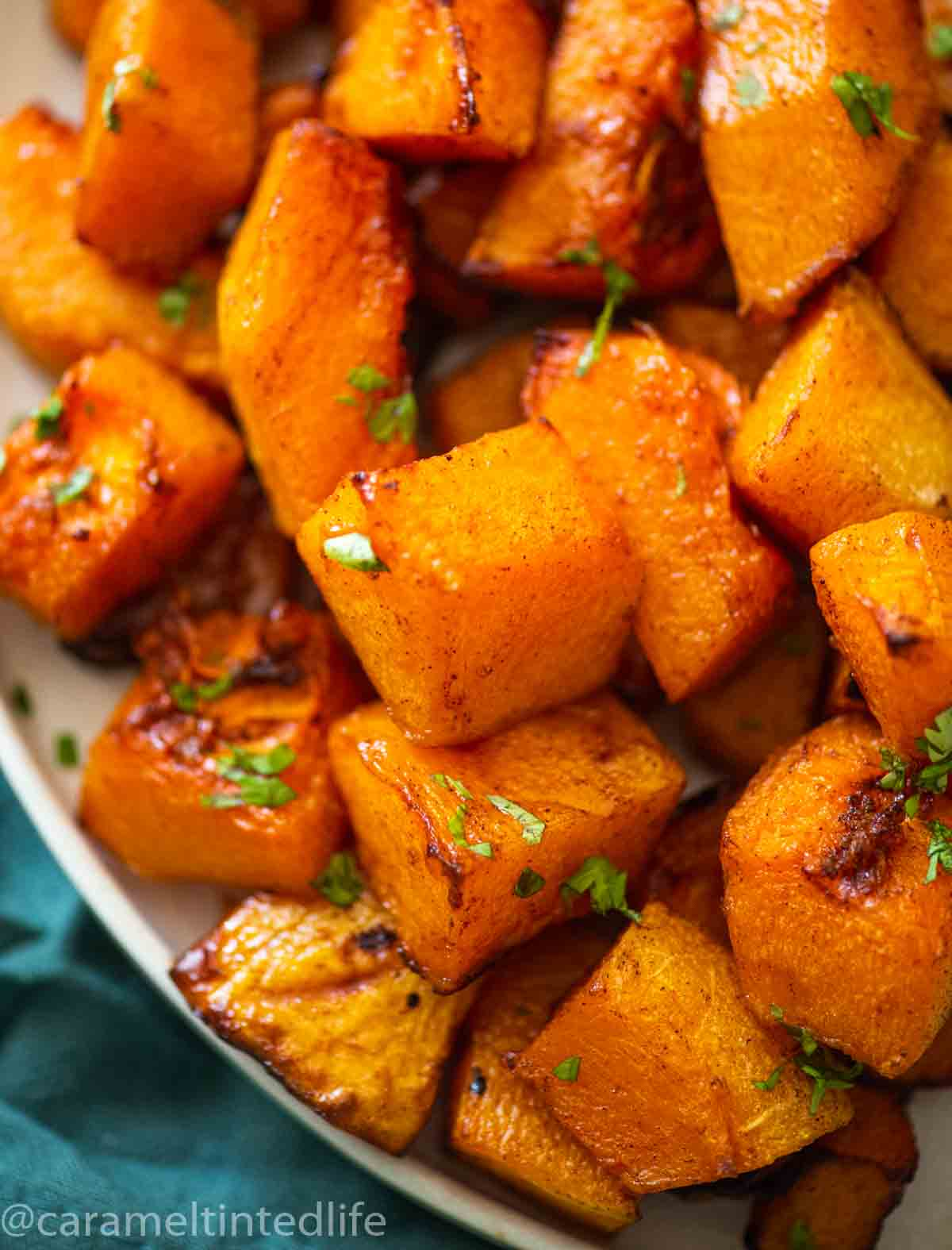 close up of roasted butternut squash pieces