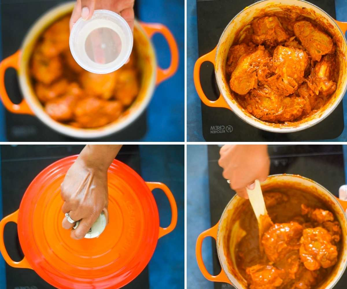 image collage showing water added to lamb curry in a dutch oven