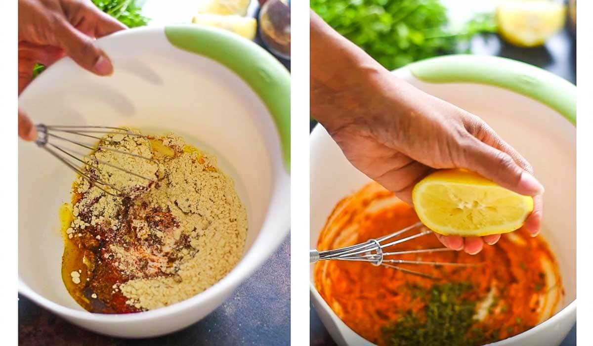images showing chicken marinade being mixed in bowl