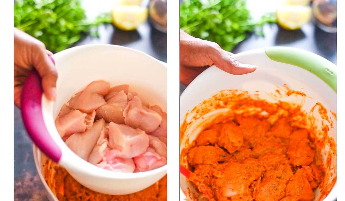 chicken is added to a mixing bowl with marinade