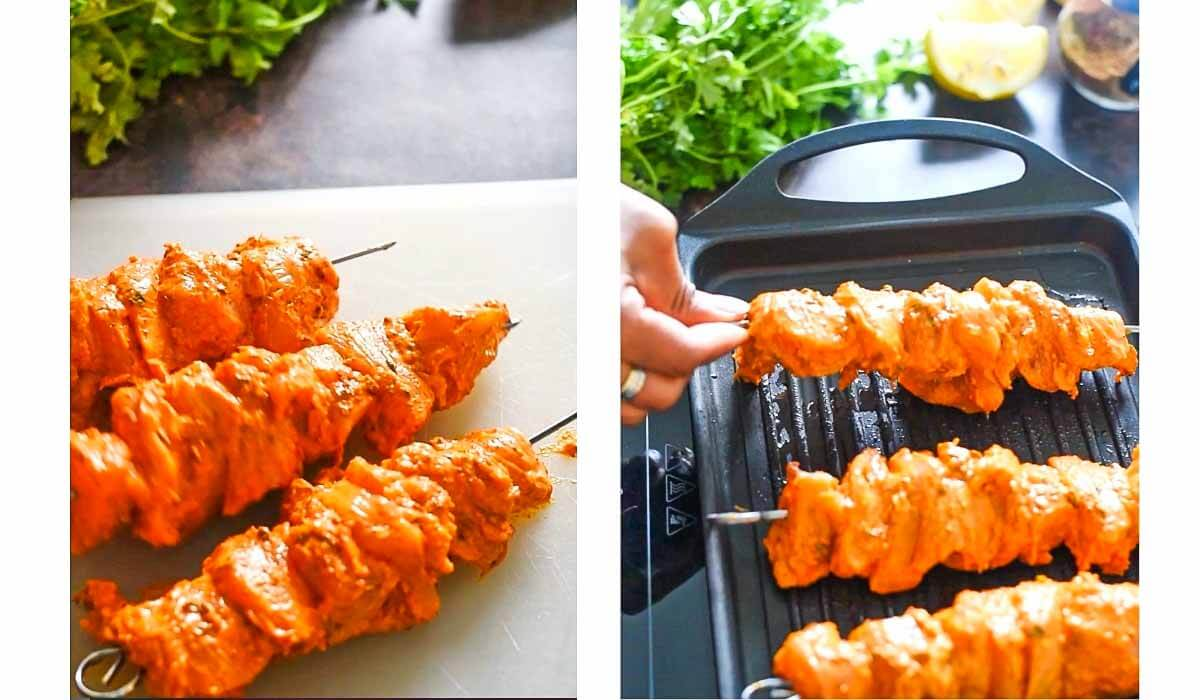 chicken tikka skewers are being grilled on a grill pan