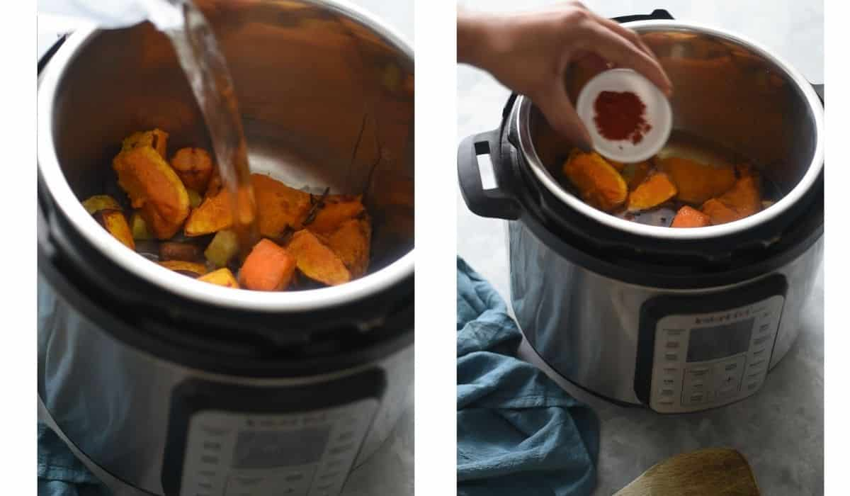 collage showing air fryer with veggies