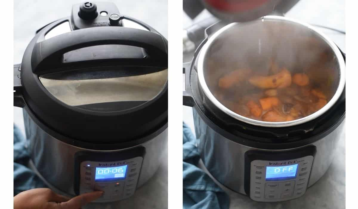 collage showing instant pot pressure cooking