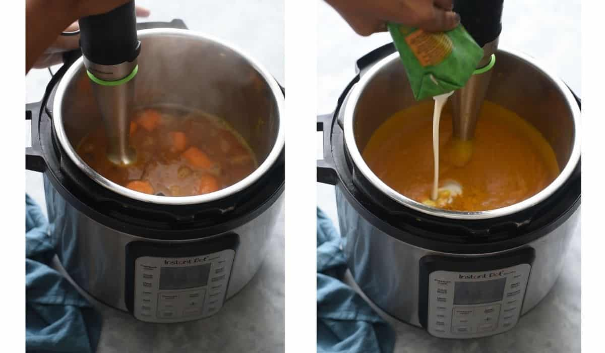 images of soup and coconut milk in instant pot