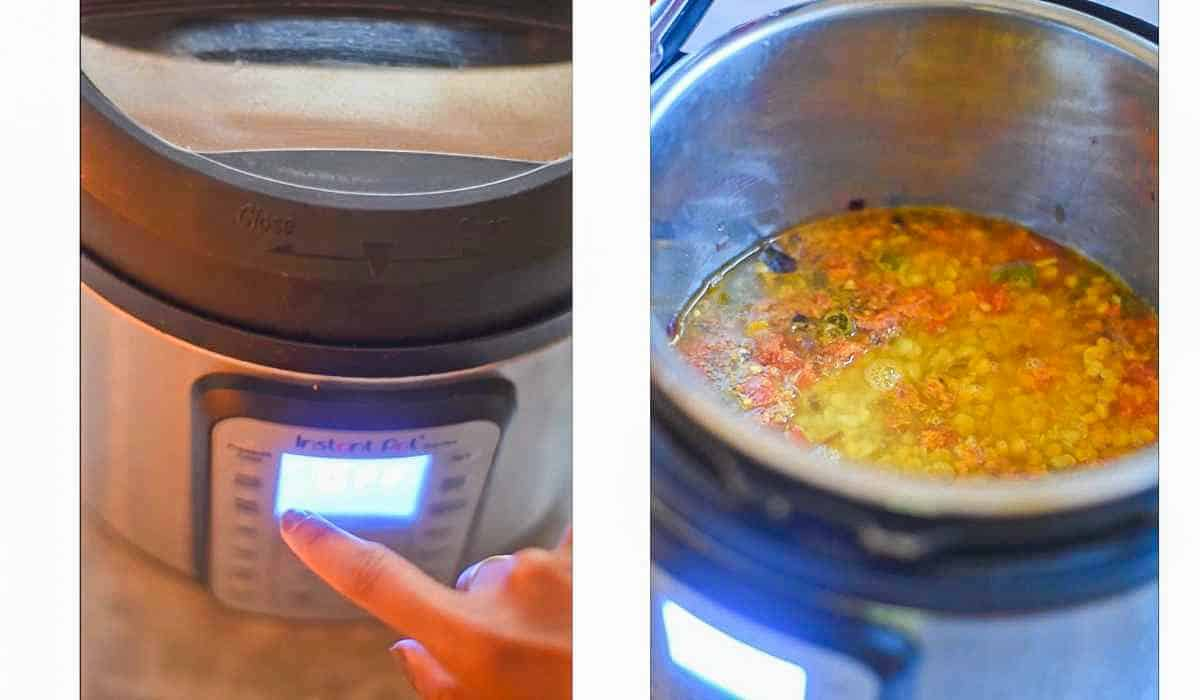 collage of images showing lentils pressure cooked in instant pot