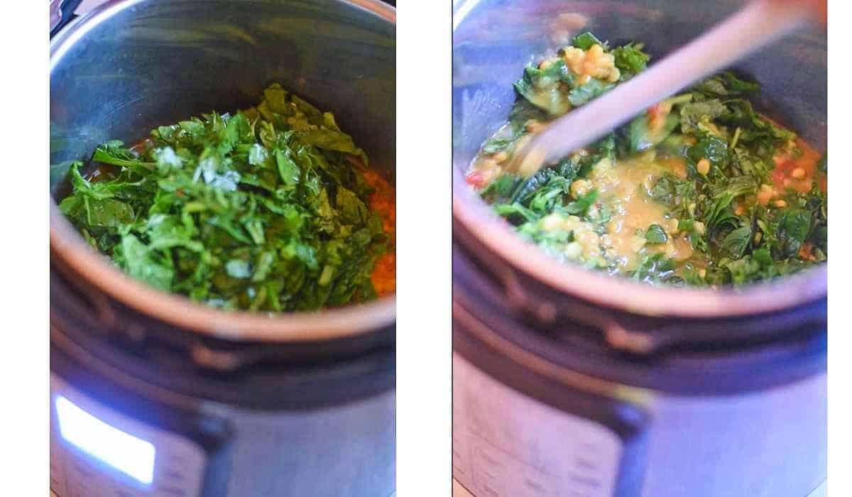 collage of images showing spinach added to pressure cooked lentils