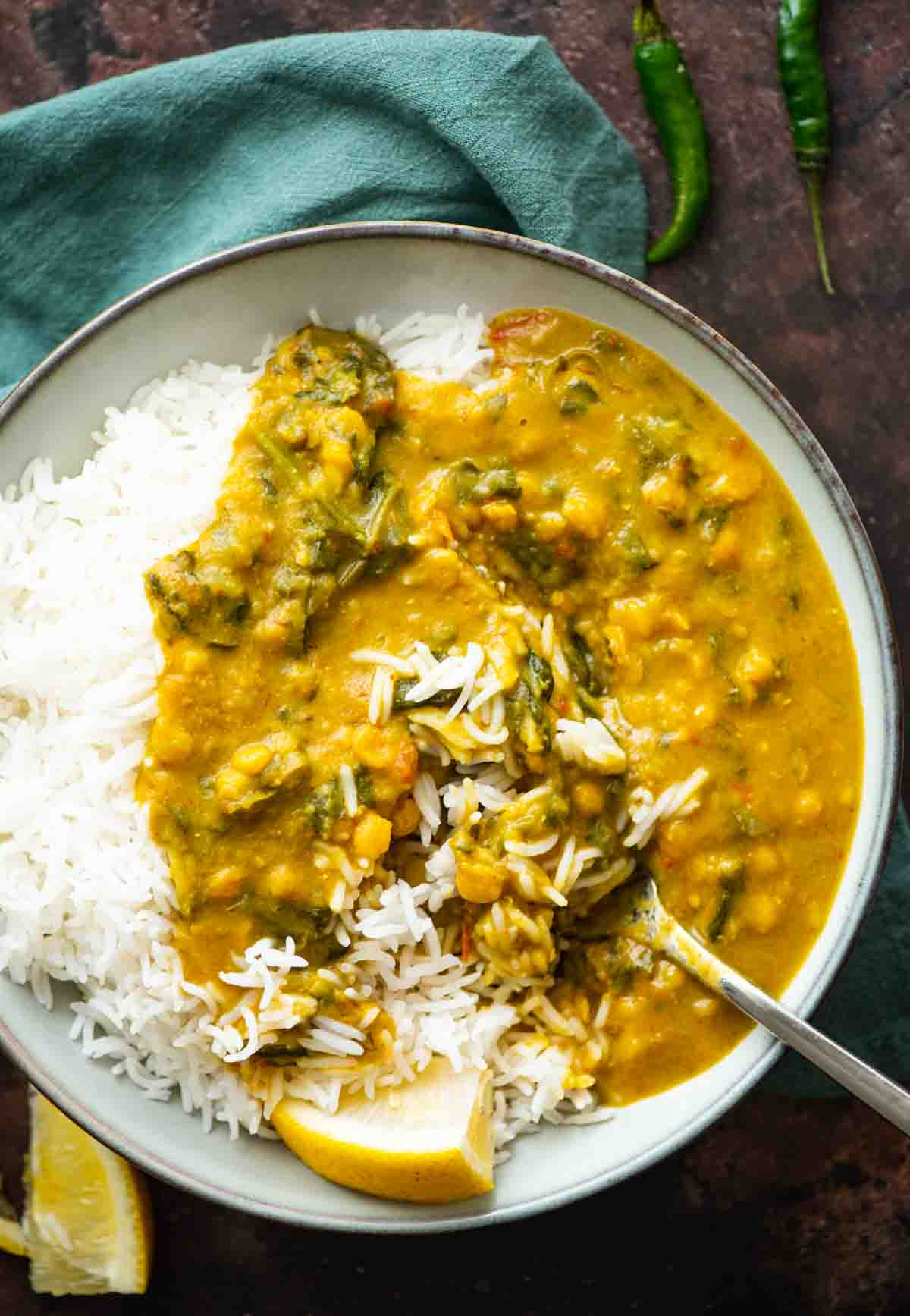 plate with rice and dal curry