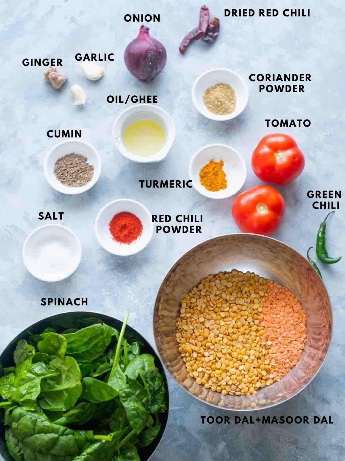 all ingredients to make palak dal