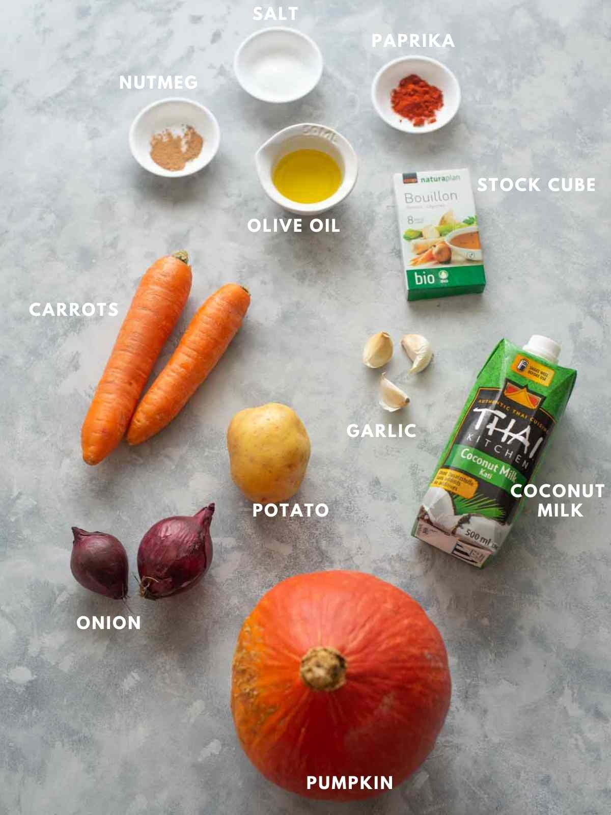 all ingredients for making pumpkin soup