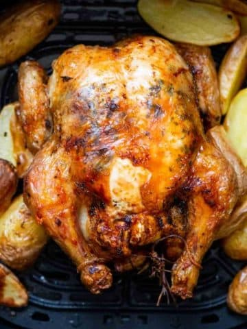 whole chicken roasted with potatoes